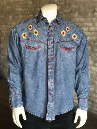 Rockmount Ranch Wear Men's Vintage Western Shirt: Denim Native Design S-XL