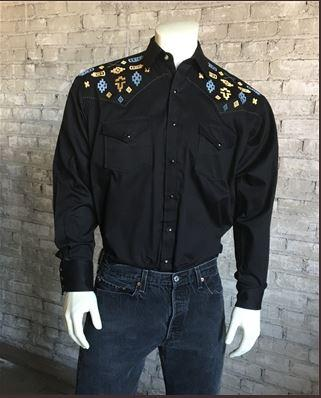 Rockmount Ranch Wear Men's Vintage Western Shirt: Native Inspired Black S-XL