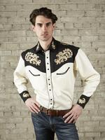 Rockmount Ranch Wear Men's Vintage Western Shirt: Floral on Ivory