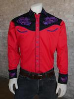 Rockmount Ranch Wear Men's Vintage Western Shirt: Floral on Red 2X