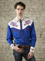 Rockmount Ranch Wear Men's Vintage Western Shirt: Floral on Royal Blue