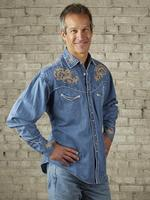 Rockmount Ranch Wear Men's Vintage Western Shirt: Floral on Denim