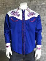 Rockmount Ranch Wear Men's Vintage Western Shirt: Floral on Royal Blue 2X