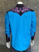 Rockmount Ranch Wear Men's Vintage Western Shirt: Floral on Turquoise 2X