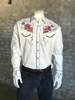 B Rockmount Ranch Wear Men's Vintage Western Shirt: Floral & Steer Ivory Backordered