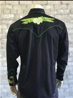 B Rockmount Ranch Wear Men's Vintage Western Shirt: Fancy Hops Great Divide Embroidered Black Talls, 2X-4X Backordered