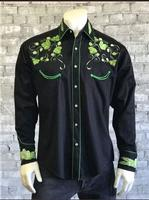 Rockmount Ranch Wear Men's Vintage Western Shirt: Fancy Hops Great Divide Embroidered Black