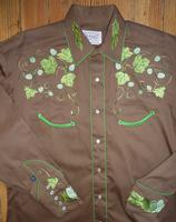 Rockmount Ranch Wear Men's Vintage Western Shirt: Fancy Hops Great Divide Embroidered Brown S-XL