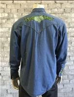 Rockmount Ranch Wear Men's Vintage Western Shirt: Fancy Hops Great Divide Denim 2X-3X