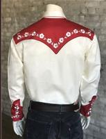 Rockmount Ranch Wear Men's Vintage Western Shirt: Fancy Elvis Cream and Red Sings Teddy Bear Cream and Red 2X-3X and Talls