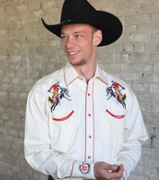 B Rockmount Ranch Wear Men's Vintage Western Shirt: Rockmount Bronc Ivory Backorder