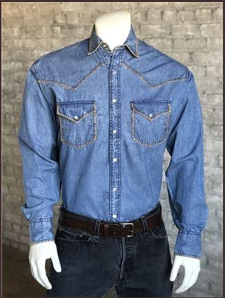 Rockmount Ranch Wear Men's Western Shirt: Denim Blanket Stitch S-XL