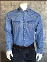 B Rockmount Ranch Wear Men's Western Shirt: Denim Blanket Stitch Backordered