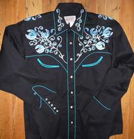 Rockmount Ranch Wear Men's Vintage Western Shirt: Fancy Prairie Blue w Floral Embroidery on Black S-XL