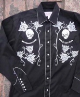 ZSold Rockmount Ranch Wear Men's Vintage Western Shirt: Fancy Skulls and Roses Silver on Black 2X SOLD