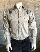 ZSold Rockmount Ranch Wear Men's Vintage Western Shirt: A Pinpoint Floral Khaki SOLD