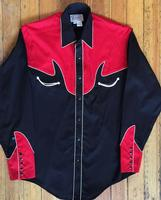 Rockmount Ranch Wear Men's Vintage Western Shirt: A A Two Tone Combination Classic Black Red S-XL