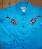 ZSold Rockmount Ranch Wear Children's Vintage Western Shirt: Classic Style with Guitar Turquoise XS-XL SOLD