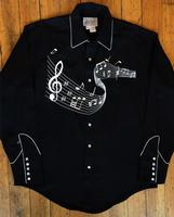 Rockmount Ranch Wear Men's Vintage Western Shirt: A Melody Off the Charts Black 2XL