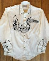 Rockmount Ranch Wear Men's Vintage Western Shirt: A Melody Off the Charts Ivory 2XL