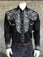 Rockmount Ranch Wear Men's Vintage Western Shirt: A A Scroll Embroidery Black S-XL