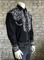 Rockmount Ranch Wear Men's Vintage Western Shirt: A Scroll Embroidery Black