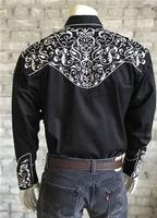 Rockmount Ranch Wear Men's Vintage Western Shirt: A Scroll Embroidery Black 2X