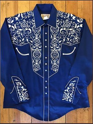 Rockmount Ranch Wear Men's Vintage Western Shirt: A A Scroll Embroidery Blue S-XL