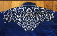Rockmount Ranch Wear Men's Vintage Western Shirt: A Scroll Embroidery Blue 2XL