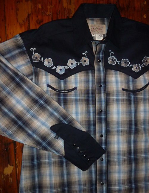 Rockmount Ranch Wear Men's Vintage Western Shirt: A Elvis Blue Plaid XLarge
