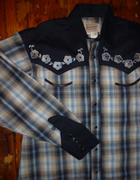 Rockmount Ranch Wear Men's Vintage Western Shirt: Fancy Elvis Blue Plaid XLarge