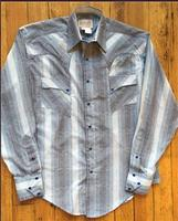 Rockmount Ranch Wear Men's Western Shirt: A Stripe Retro Dobby Blue S-XL