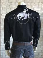 B Rockmount Ranch Wear Men's Vintage Western Shirt: Fancy Stylized Yoke and Bronc Black 2X Backorder