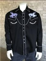B Rockmount Ranch Wear Men's Vintage Western Shirt: Fancy Stylized Yoke and Bronc Black Backorder