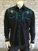 Rockmount Ranch Wear Men's Vintage Western Shirt: Fancy Teal Floral Embroidery Black
