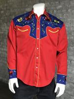 Rockmount Ranch Wear Men's Vintage Western Shirt: Fancy Two Tone Roses Red and Blue 2X