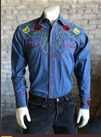 Rockmount Ranch Wear Men's Vintage Western Shirt: Fancy Floral Denim
