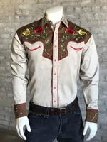 Rockmount Ranch Wear Men's Vintage Western Shirt: Fancy Two Tone Roses Tan and Brown
