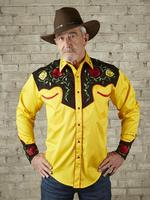 B Rockmount Ranch Wear Men's Vintage Western Shirt: Fancy Two Tone Roses Black on Gold 2X Backorder
