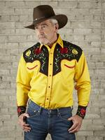 Rockmount Ranch Wear Men's Vintage Western Shirt: Fancy Two Tone Roses Black on Gold