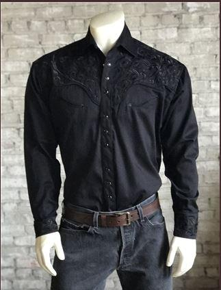 Rockmount Ranch Wear Men's Vintage Western Shirt: A Fancy Tooling Design Black S-XL