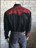 B Rockmount Ranch Wear Men's Vintage Western Shirt: Fancy Tooling Design Black Red 2X Backordered