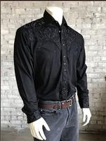 B Rockmount Ranch Wear Men's Vintage Western Shirt: Fancy Tooling Design Black 2X Backordered