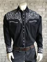 Rockmount Ranch Wear Men's Vintage Western Shirt: Fancy Tooling Design Black Silver
