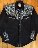 Rockmount Ranch Wear Men's Vintage Western Shirt: A Fancy Tooling Design Black Silver S-XL