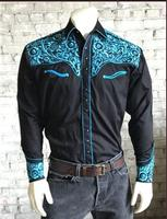 Rockmount Ranch Wear Men's Vintage Western Shirt: A Fancy Tooling Design Black Turquoise S-XL
