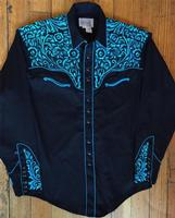 Rockmount Ranch Wear Men's Vintage Western Shirt: Fancy Tooling Design Black Turquoise 2X