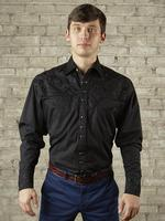 B Rockmount Ranch Wear Men's Vintage Western Shirt: Fancy Tooling Design Black Backordered