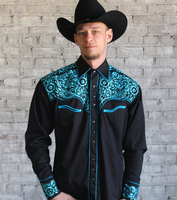 Rockmount Ranch Wear Men's Vintage Western Shirt: Fancy Tooling Design Black Turquoise
