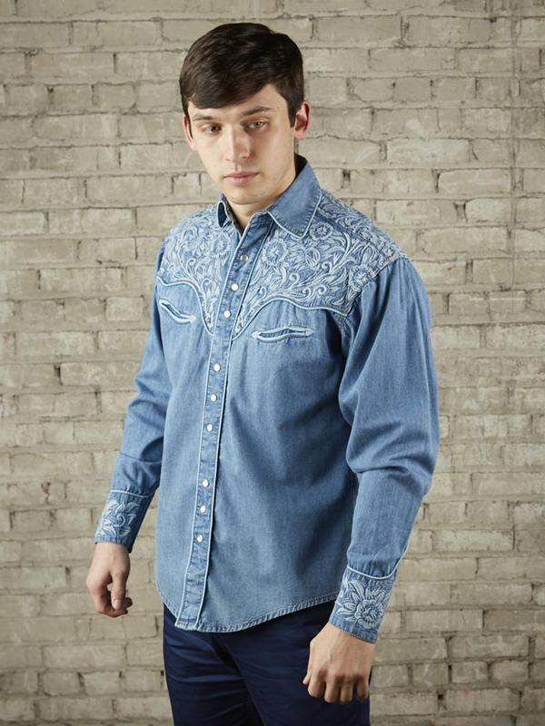 Rockmount Ranch Wear Men's Vintage Western Shirt: Fancy Tooling Design Denim 2X